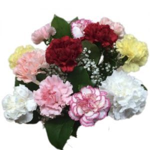 Flowers bouquet with red, pink, yellow and white carnations
