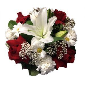 Center Piece with red roses, white Lilies and daisies