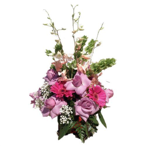 Center Piece with pink roses, pink flowers and green