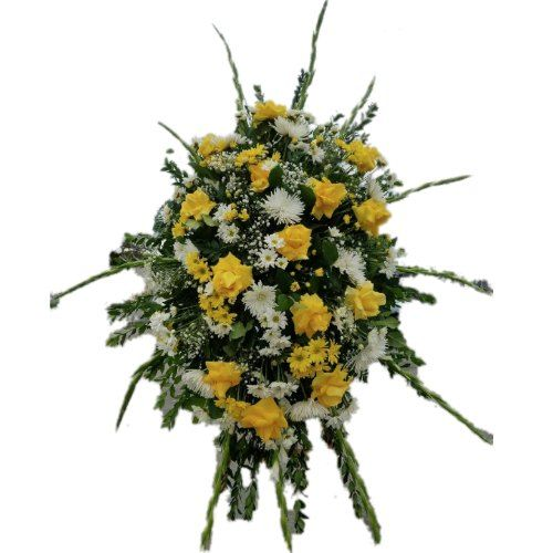 Sympathy arrangement with yellow and white flowers