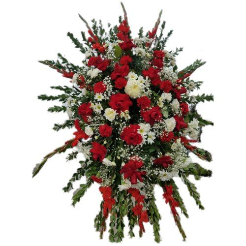 Sympathy special arrangement with red roses and white flowers