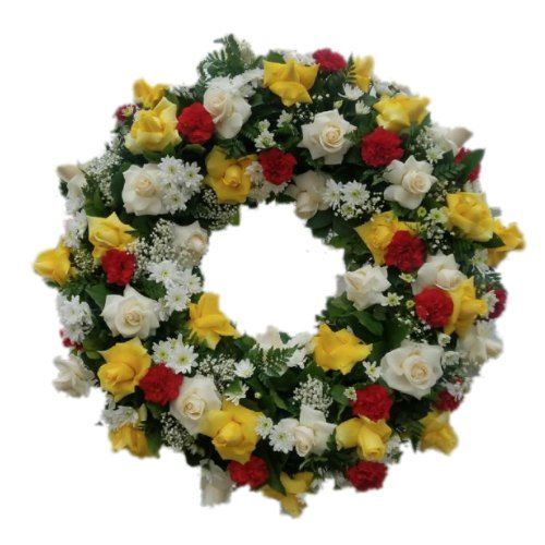 Sympathy circle flowers arrangement with white, yellow roses, red carnations and green plants