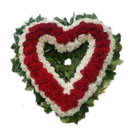 Sympathy white and red heart flowers arrangement