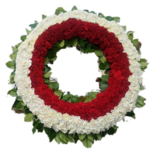 Sympathy Flowers arrangement in circle from in white and red carnations