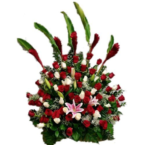 Sympathy flowers arrangement with red roses, Lilies and green