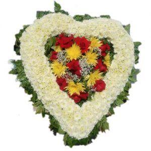 Sympathy white heart arrangement