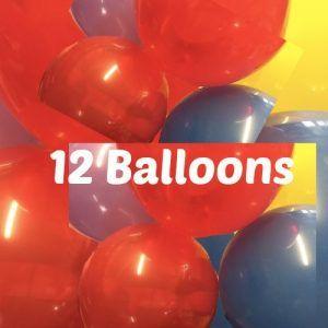 12 multicolor balloons