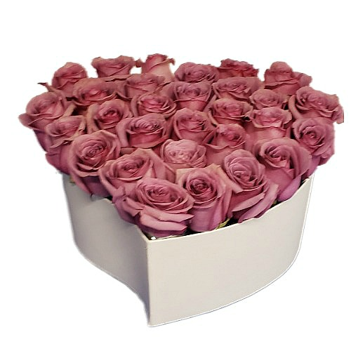 Pink roses bouquet with heart form
