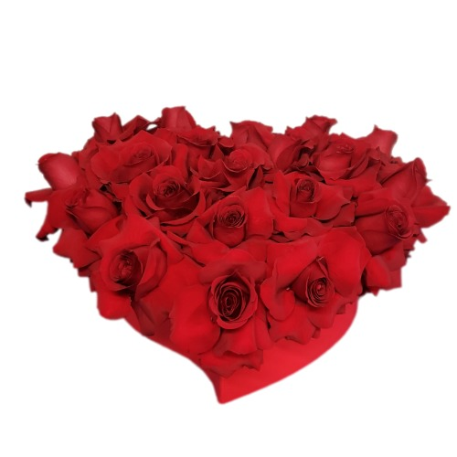 Red roses bouquet with heart form