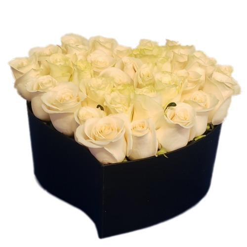 White roses bouquet with heart form