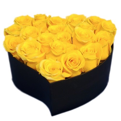 Yellow roses bouquet with heart form