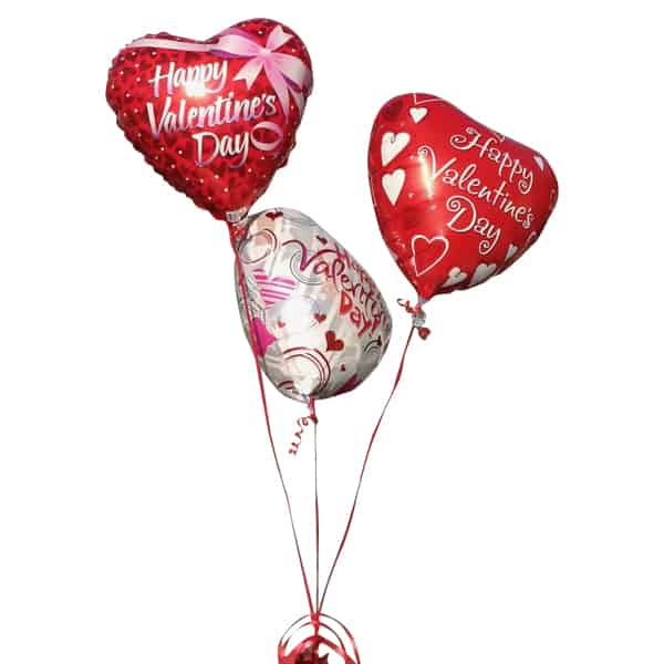 Red and white hearth shaped balloons with the word Happy Valentines Day
