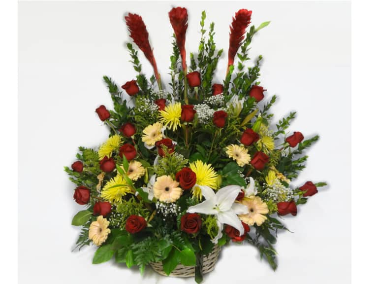 Basket flowers bouquet with 24 Roses, 3 Gingers, 4 White Lilies, 5 Yellow Spyder, 7 Gerberas, Baby Breath