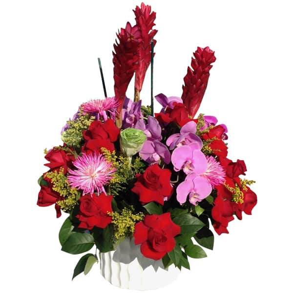 Flowers basket24 Roses, 4 Orchids, 4 Gingers, 6 Spiders, 6 Lettuces, Solidago, Lemon Leaves