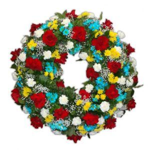 Sympathy Circular arrangement with 24 Roses, 24 White Carnations, 24 Daisies. $120.00 each, when you purchase over 5 units.