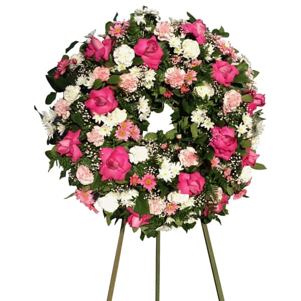 Sympathy circle flowers arrangement with 13 Roses, 24 Carnations, 24Daisies, baby Bread, Lemon Leaves, Leather