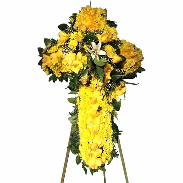Sympathy yellow flowers cross arrangement