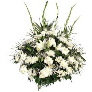 Flowers in a basket 5 Gladioli, 6 White Spiders, 12 White Roses, 3 Lilies, 12 White Cushion, Comedor, Lemon Leaves, Leather, Baby Bread