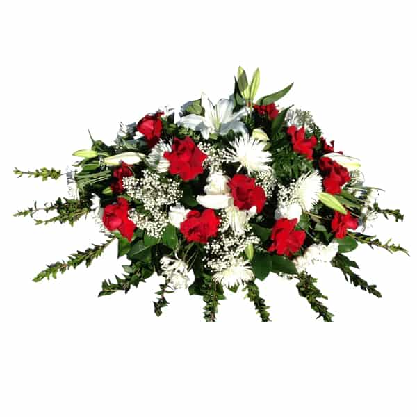 Flowers casket cover with 12 Roses, 4 Spiders, 12 Carnations, 12 Cushions, 4 Lilies, Lemon Leaves, Leather, Mirto