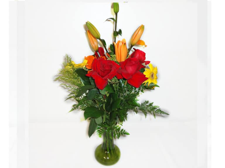 Vase Bouquet with 4 Roses, 1 Lily, 2 Gerberas