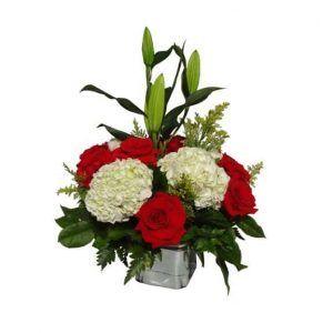 Flowers vessel with 12 Roses, 4 Flowers, 3 Lilies, Solidago, Lemon leaves.
