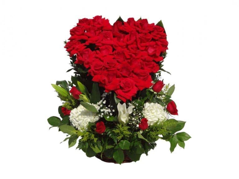 Vase Bouquet with heart red shape with 36 Roses, 3 Lilies, 2 Flowers.