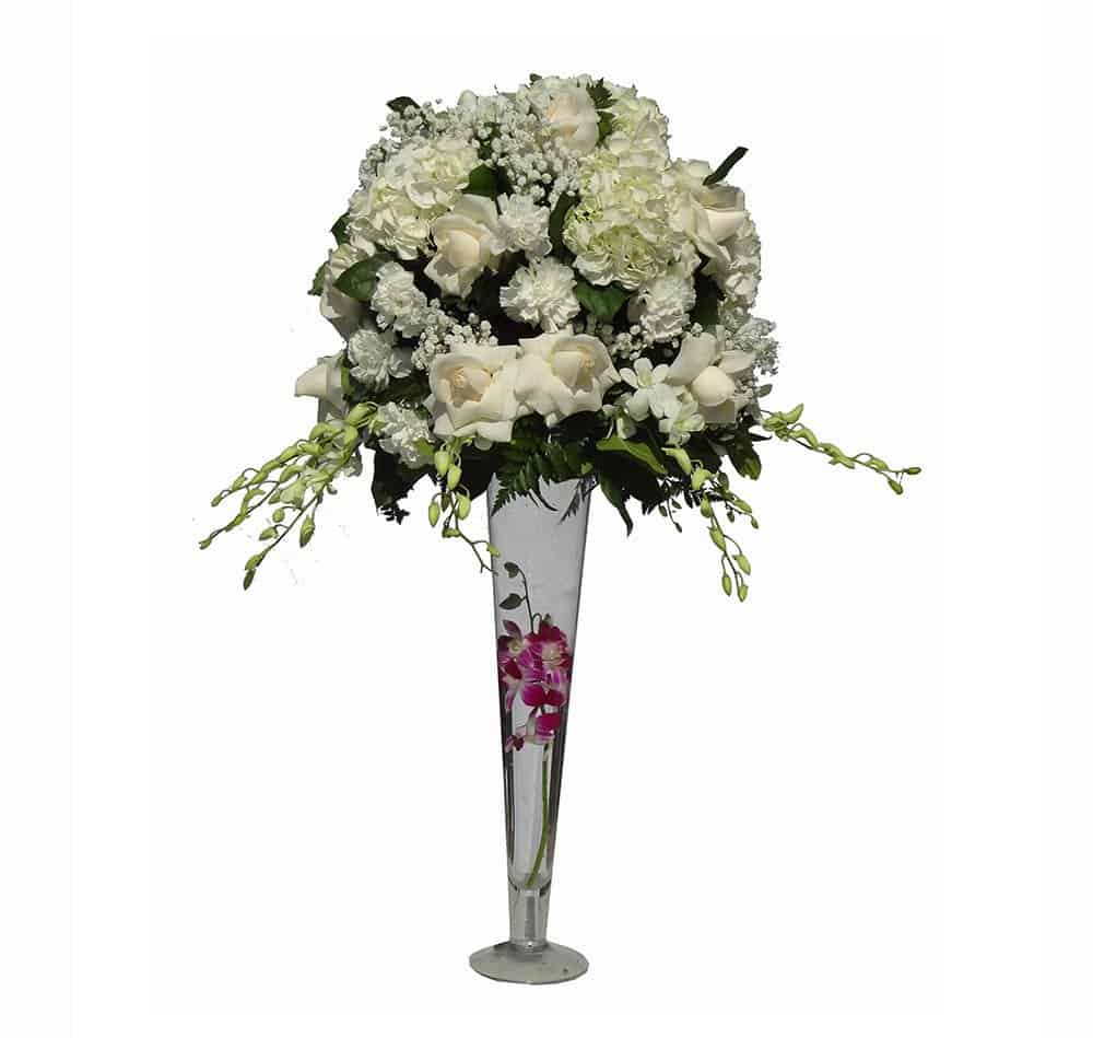 Long vessel bouquet with 10 Orchids, 12 Carnations, 8 Flowers, Baby breads, Lemon leaves