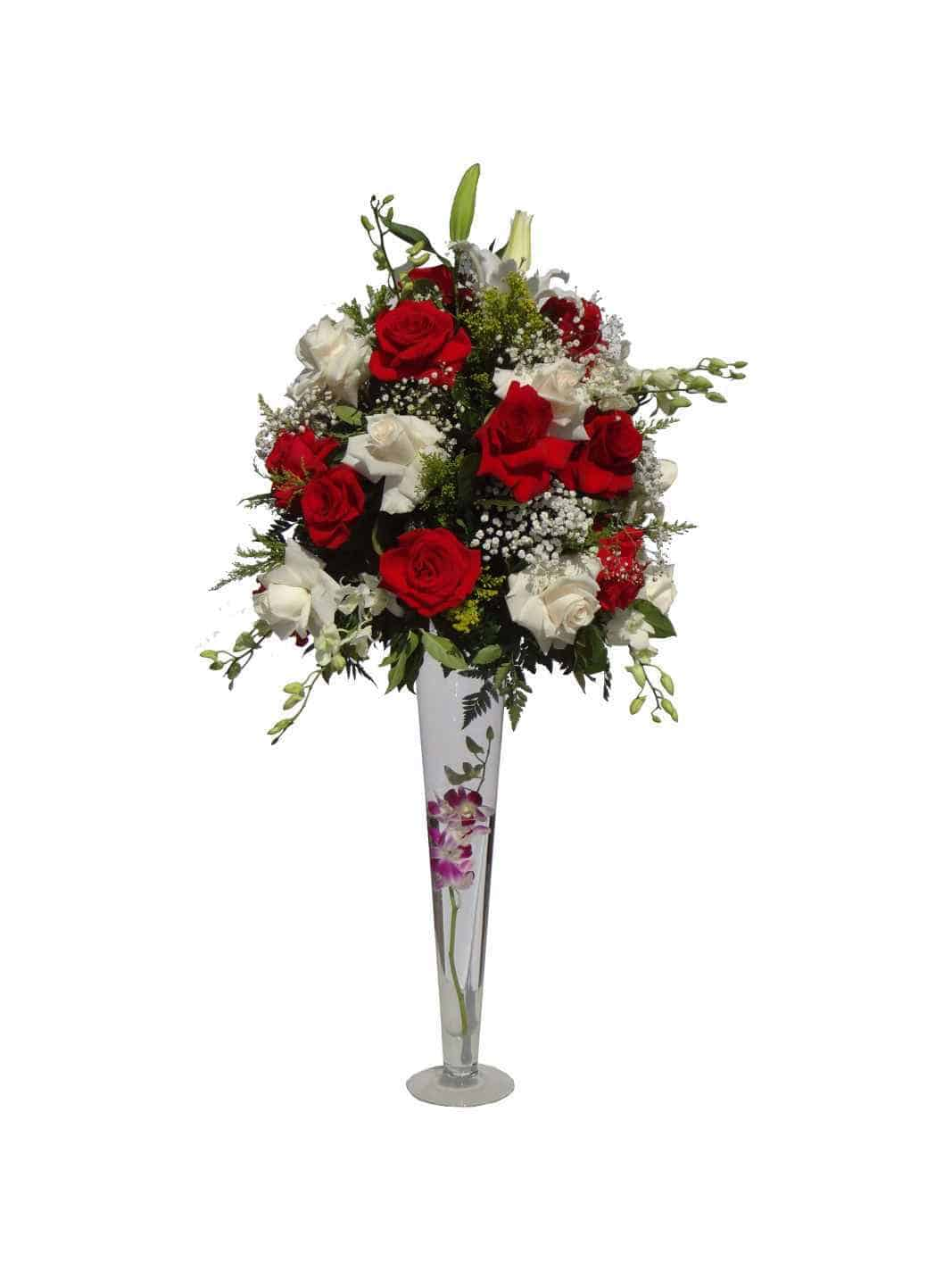 Long vessel bouquet with 30 Roses, 10 Orchids, 3 Lilies.