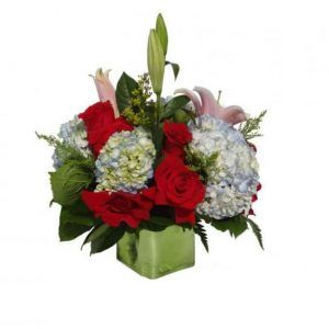 Vase Bouquet with 12 Roses, 4 Hydrangeas, 3 Lilies, Solidago, Lemon leaves