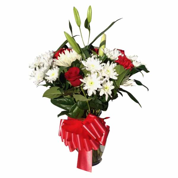 Flowers Vessel with 3 Roses, 1 Lily, 4 Spiders, 6 Cushions, 3 Carnations, Baby Bread, Lemon Leaves