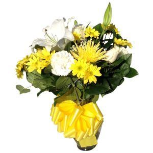 Flowers Vessels with 3 Roses, 4 Carnations, 2 Spiders, 7 Daisys, 1 Lily, Baby bread, Lemon Leaves