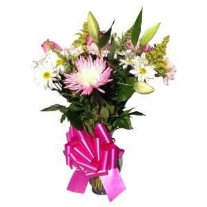 Flowers Vessels with 4 Roses, 4 Spiders, 4 Daisys, 1 Lily, Solidago, baby Bred, Lemon Leaves