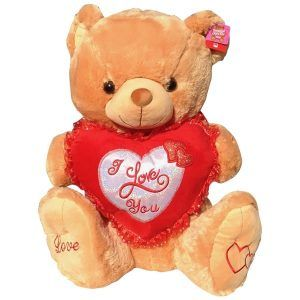 Light Brown teddy bear with a heart that said I Love You