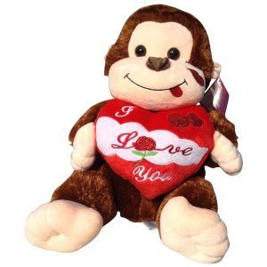 Brown monkey with a heart that said I Love You