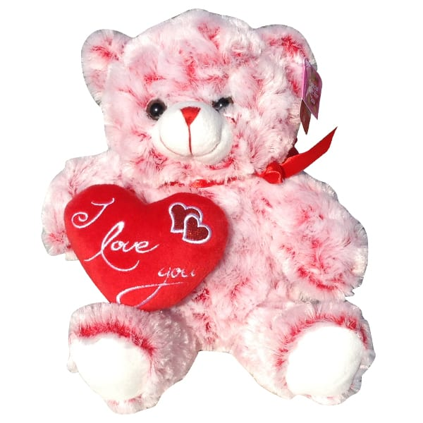 Red and white teddy bear with a heart that said I Love You