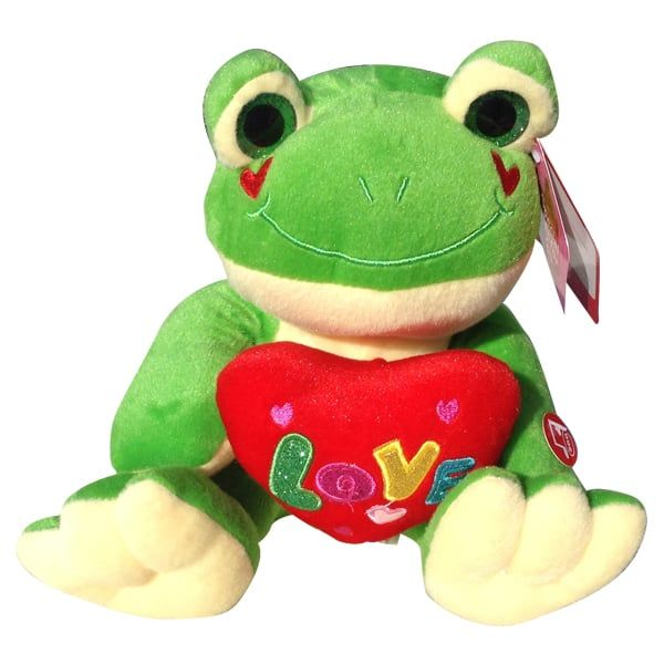 Green frog with a heart that said Love
