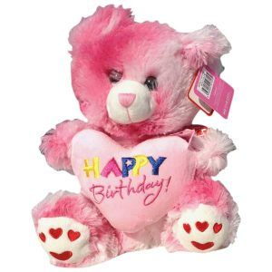 Pink teddy bear with a heart that said Happy Birthday