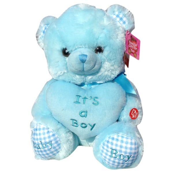 light blue teddy bear with the word It's a boy