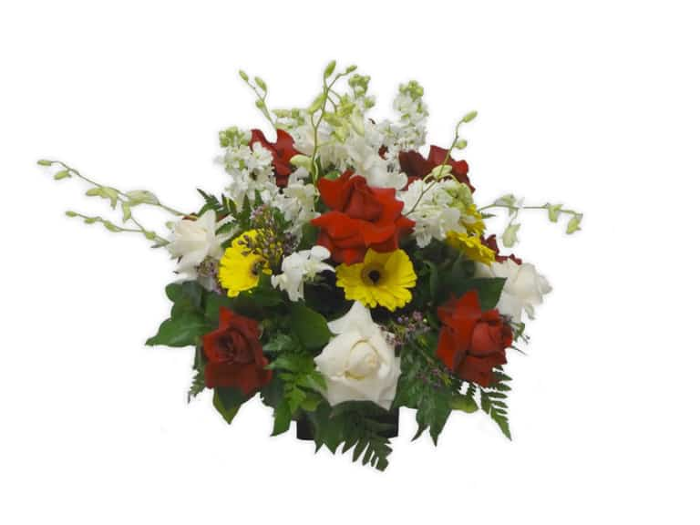 Vase Bouquet with 15 Roses, 7 Orchids, 5 Gerbera Daisy, 5 Stalks