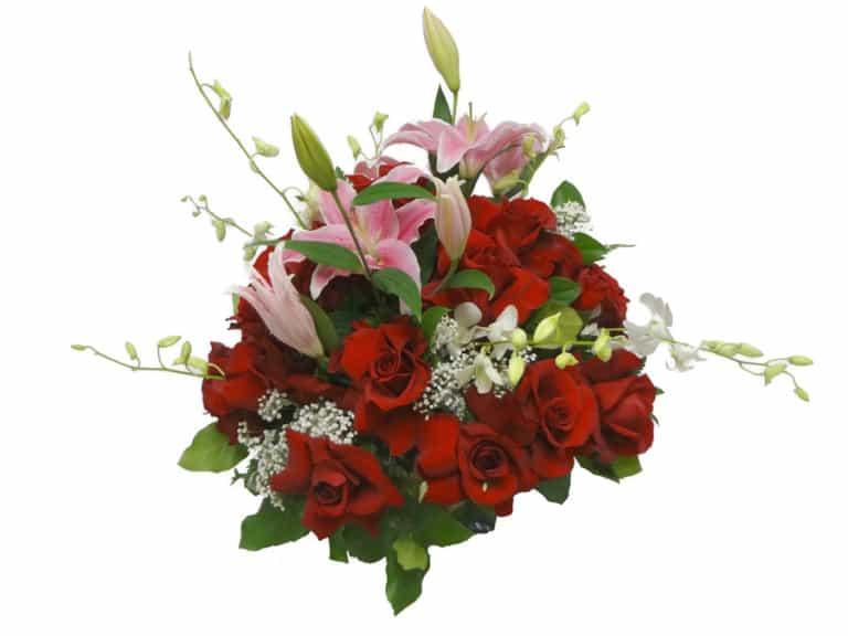 Flowers basket with 25 Roses, 7 Orchids, 3 Lilies