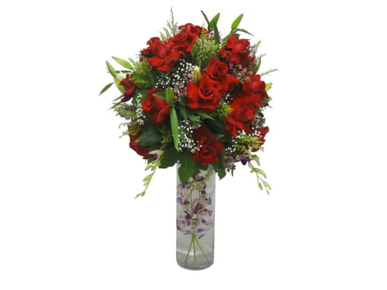 Long vessel bouquet with 30 Roses, 5 Lilies, 7 Orchids