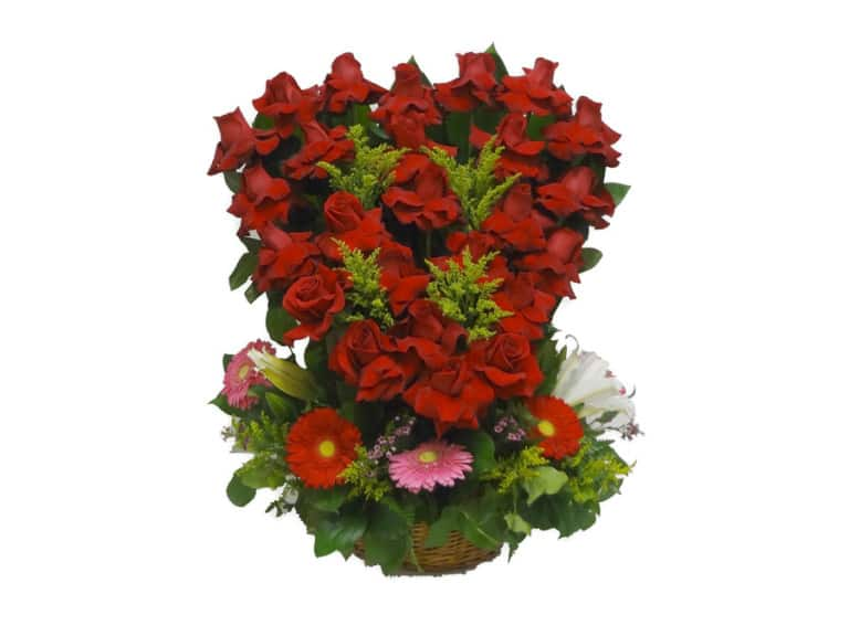 read Heart Basket flowers bouquet with 24 Roses, 5 Gerberas, 3 Lilies