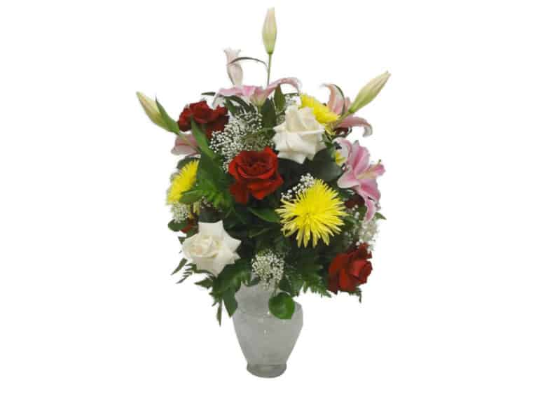Vase Bouquet with 12 Roses, 5 Spiders, 3 Lilies