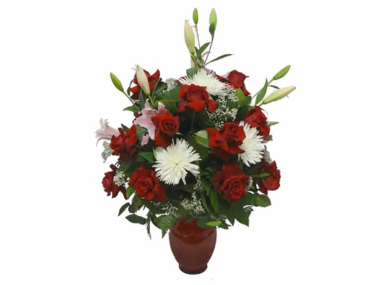 Vessel Bouquet with 18 Roses, 6 Spiders, 5 Lilies