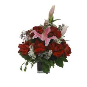 Vase Bouquet with 12 Roses, 4 Lilies