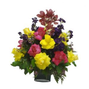Vase Bouquet with 18 Roses, 1 Orchid, 6 Stalks