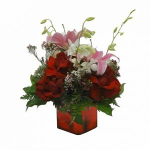 Vase Bouquet with 6 Roses, 4 Orchids, 2 Lilies