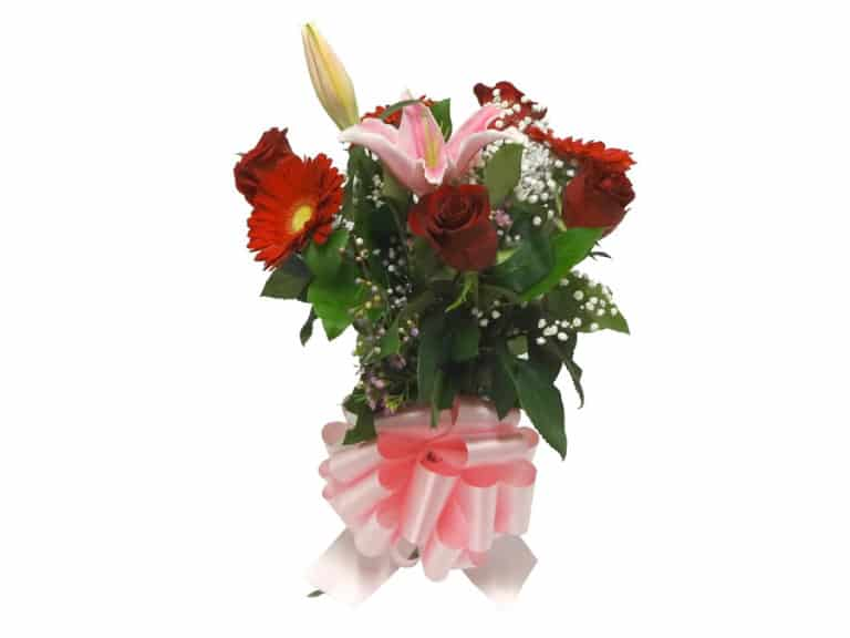 Vase Bouquet with 4 Roses, 1 Lily, 3 Gerberas