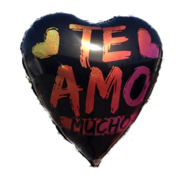 Black balloon with the word Te Amo