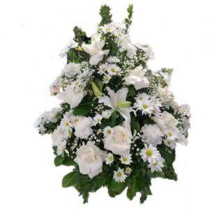 Special arrangement with white roses, white lilies and green